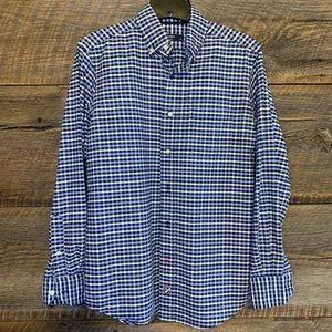 Cremieux Button Down, Blue Navy and White Plaid
